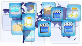 Online file sharing with world map. Online file sharing with blue world map Stock Photos