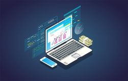 Online finance analytics banner. Finance analysis computer web app. Isometric laptop with chart and financial growth graph. Money and mobile phone. Finance Royalty Free Stock Photography