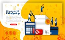 Online financi?le planning, het digitale in de begroting opnemen, het online overheid in de begroting opnemen, e-in de begroting  vector illustratie
