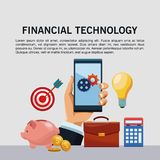 Financial technology infographic. Online financial technology infographic vector illustration graphic design Stock Photos