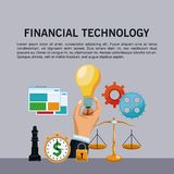 Financial technology infographic. Online financial technology infographic vector illustration graphic design Stock Image