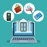 Financial technology concept. Online financial technology from laptop vector illustration graphic design Royalty Free Stock Photos