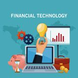 Financial technology concept. Online financial technology from laptop vector illustration graphic design Stock Photos