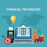 Financial technology concept. Online financial technology from laptop vector illustration graphic design Royalty Free Stock Image