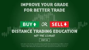 Online financial trading education vector illustration. Web banner remote education for traders graphic design. Promotion banner with dark green blackboard Stock Photo