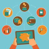 Online finanse kontrola app w mieszkanie stylu - Zdjęcie Stock