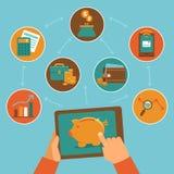 Online-finanskontroll app - i plan stil Arkivfoto