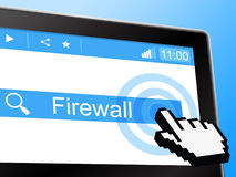 Online Firewall Shows World Wide Web And Defence Royalty Free Stock Images
