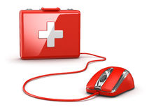 Online first aid. Mose and medical kit. 3d Royalty Free Stock Photography