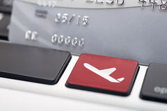 Online flight booking. Icon button of a computer keyboard Stock Photo