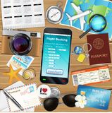 Online flight booking app with many travel object. An online flight booking app with many travel object Royalty Free Stock Image