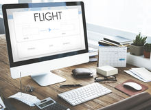 Online Flight Booking Interface Concept Stock Image