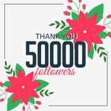 50000 online followers social media achievement. Vector Stock Photo