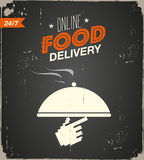 Online food delivery poster. Abstract background Stock Image