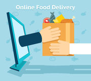 Online food delivery. Product and shopping, customer and receive. Vector illustration Royalty Free Stock Images