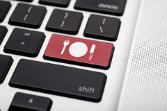 Online Food order. Online food reservation icon button of a computer keyboard Royalty Free Stock Photo