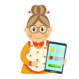 Online Food Order Character. With single aged housewife in glasses and apron with smartphone isolated vector illustration Royalty Free Stock Images