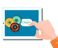 Online food order donut. Menu flat design Royalty Free Stock Photography