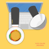 Online food ordering flat vector concept. Delivery man hands with burger on tray appeared from laptop screen Royalty Free Stock Photo