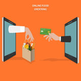 Online food ordering flat vector concept. Hands of delivery man and customer appear from smartphone screen Stock Images