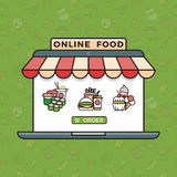 Online food ordering grocery shopping vector concept in trendy linear style. Ice cream and sushi, burger and cake illustration Stock Photography
