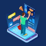 Online food store, man buys food online isometric vector concept vector illustration