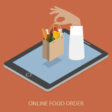 Online Foood Ordering Concept Illustration. Online Foood Ordering Concept Flat Isometric Vector Illustraion of Hand With Bag of Foods Appeared From Smartphone Royalty Free Stock Photography