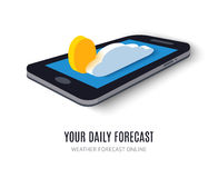 Online daily forecast concept isometric icon Stock Photography
