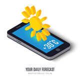 Online daily forecast concept isometric icon Stock Photos