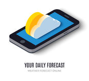 Online daily forecast concept isometric icon Royalty Free Stock Photos