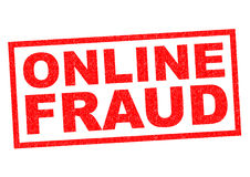 ONLINE FRAUD. Red Rubber Stamp over a white background Royalty Free Stock Photo