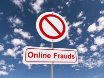 Online frauds road sign Stock Images