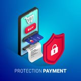 Online-fyrkant för betalningskyddsbegrepp vektor illustrationer