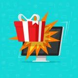 Online-gåva från illustrationen för datorbildskärmvektor, plan ask för gåva för skrivbords- PC för tecknad film, begrepp av det o Royaltyfri Fotografi