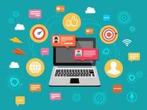 Online gadka laptop z gawędzenie bąbla powiadomieniami Ludzie przesyłanie wiadomości na internecie również zwrócić corel ilustrac obraz royalty free