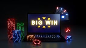 Online Gambling Big Win Concept With Glowing Neon Lights, Poker Cards and Poker Chips Isolated On The Black Background - 3D Illust. Online Gambling Big Win stock illustration