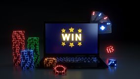 Online Gambling Win Concept With Glowing Neon Lights, Poker Cards and Poker Chips Isolated On The Black Background - 3D Illustrati. Online Gambling Win Concept stock illustration