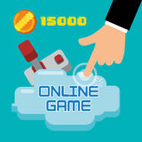 Online game hand touch joystick coin score Stock Images
