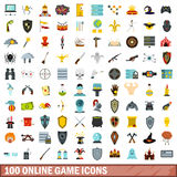100 online game icons set, flat style Royalty Free Stock Photo