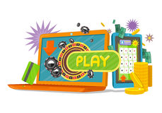 Online Games Banner with Laptop and Mobile Phone. Online games web banner with laptop and mobile phone. Money, coins, credit cards, stars, chips. Online play stock illustration