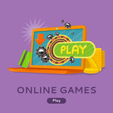 Online Games Concept Flat Style Vector Web Banner Stock Images