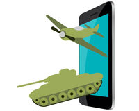 Online Games. Mobile phone with military aircraft and tanks Royalty Free Stock Photography