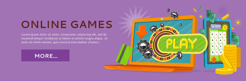 Online Games Web Banner Isolated with Play Button. Online games web banner isolated on purple with play button. Money, coins, credit cards, gambling devices and stock illustration