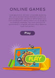 Online Games Web Banner Isolated with Play Button. Stock Photos