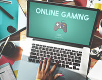 Online Gaming Playing Hobby Internet Strategy Concept Stock Photos