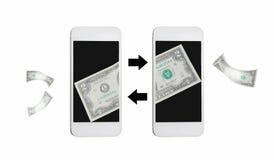 Online geldoverdracht door Internet op mobiel Stock Foto's