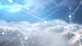 Online gemeenschap op het blauwe hemelscherm