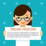 Online geneeskundebanner Vrouw de arts toont tekst Stock Afbeeldingen