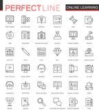 Online geplaatste het Webpictogrammen van de onderwijs dunne lijn Het ontwerp van de slagpictogrammen van het kennisoverzicht stock illustratie