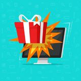 Online gift from computer monitor vector illustration, flat cartoon desktop pc gift box, concept of on-line bonus prize. Online gift from computer monitor vector Royalty Free Stock Photography